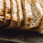 Close up of thin sliced homemade white bread loaf