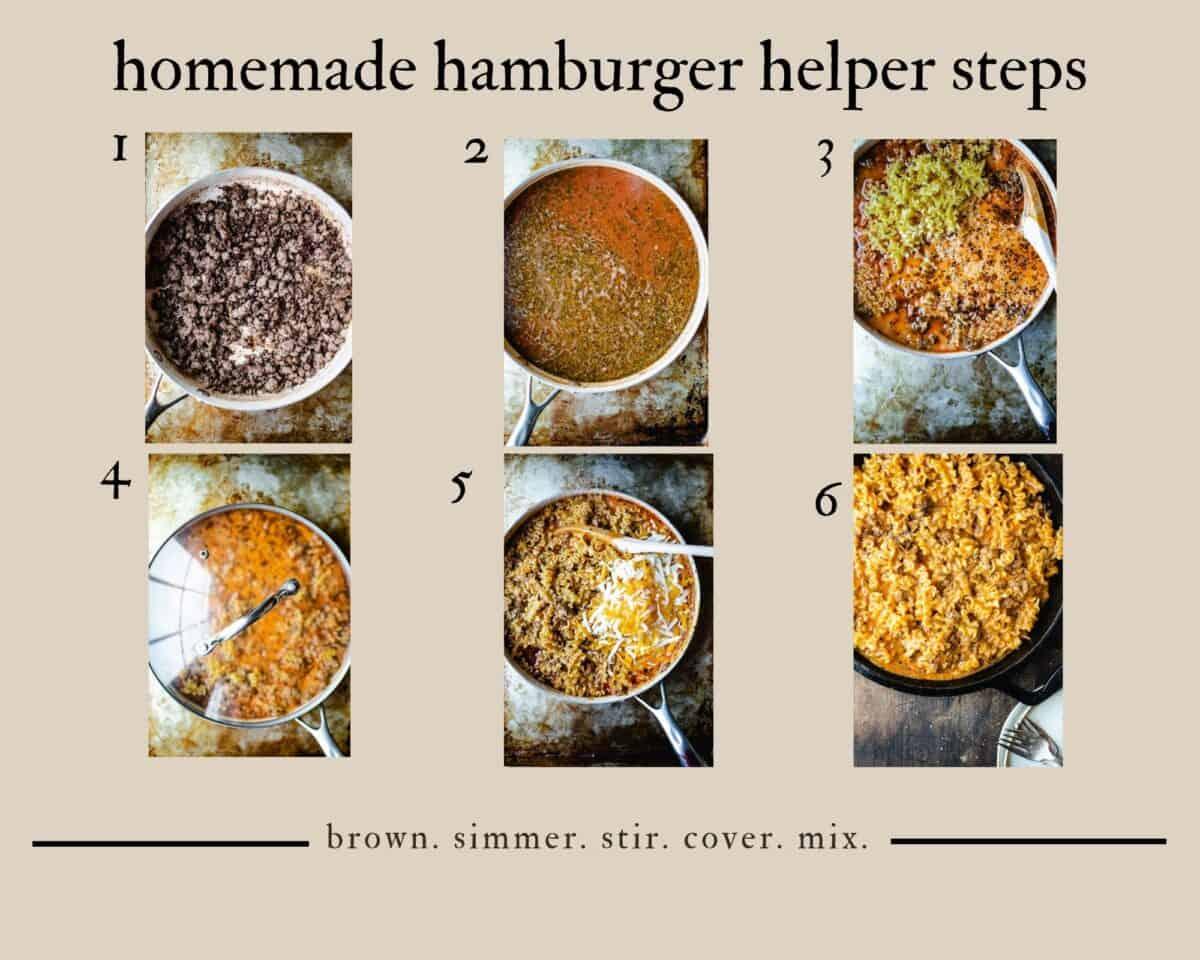 6 step grid chart of how to make hamburger helper lasagna homemade from scratch