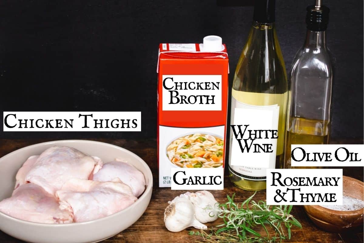 Ingredients for recipe with text labels.
