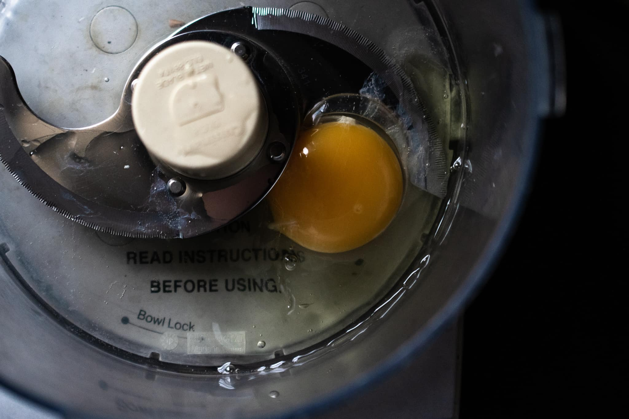 egg and oil and lemon juice in a food processor for mayonnaise