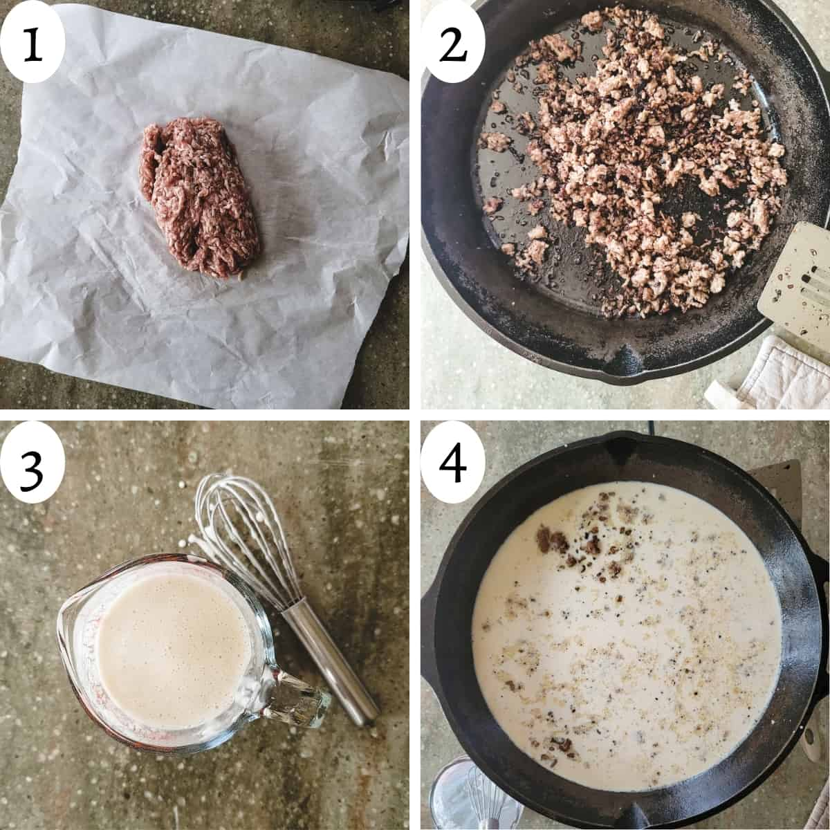 Four step graphic on the steps to making country sausage gravy.