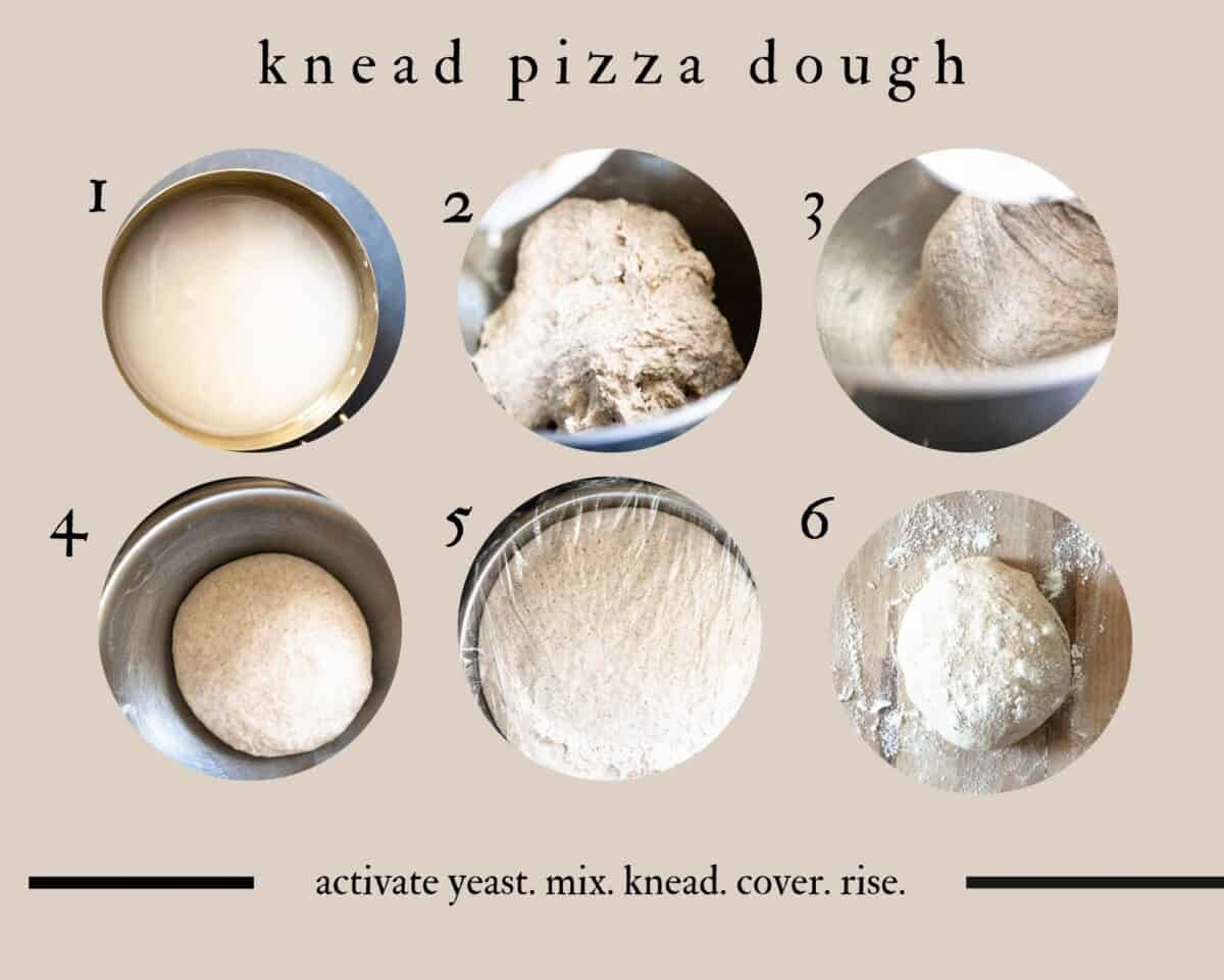 how to knead pizza dough step by step grid