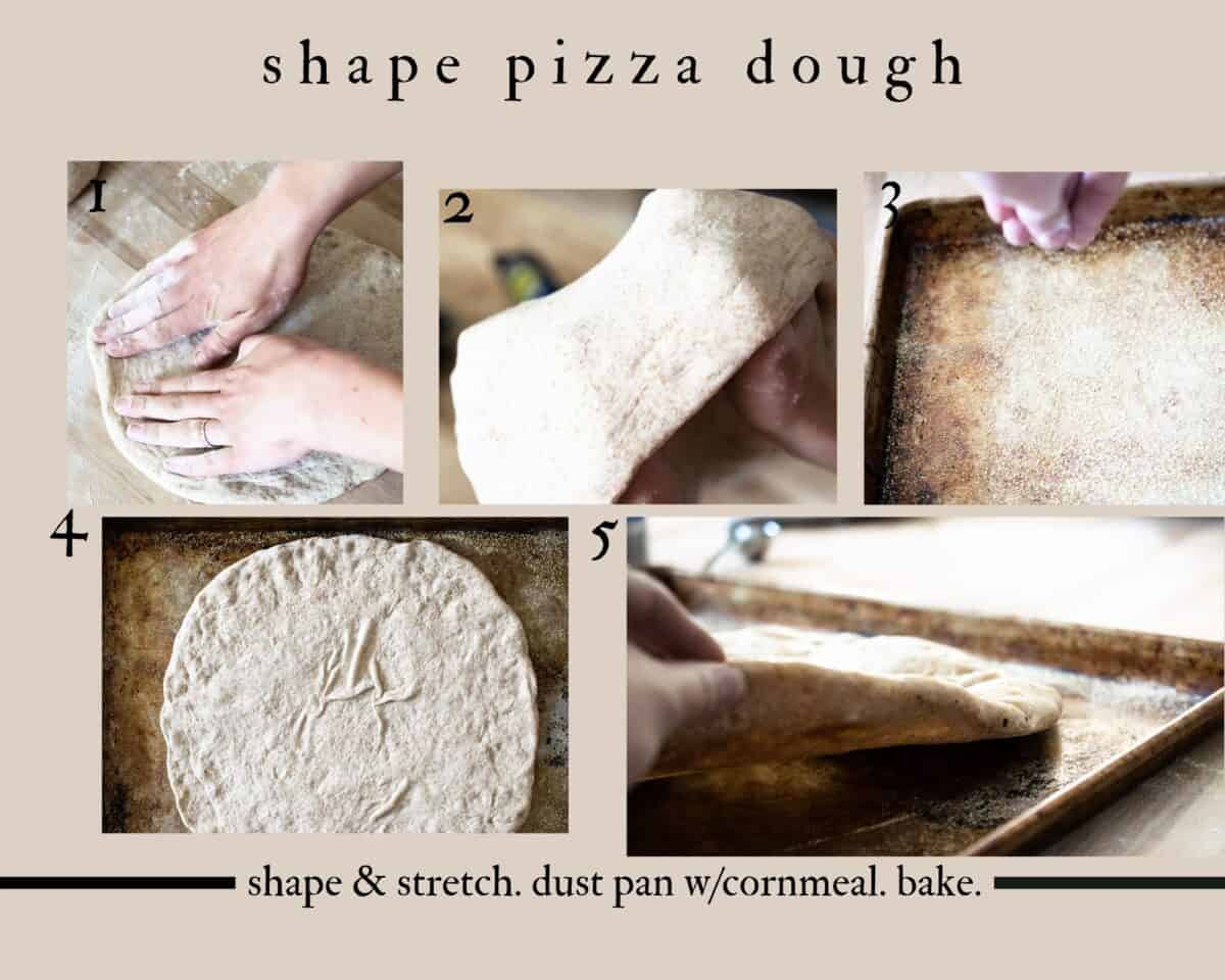 5 step info graphic on how to shape and form pizza crust