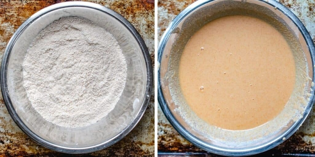 Photo left showing dry ingredients mixed and batter mixed on the right.