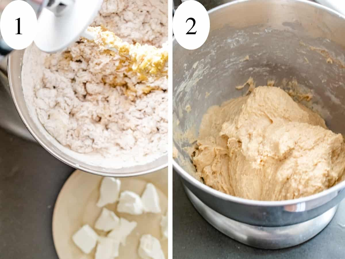 Showing steps 1 and 2 mixing the dough and adding cream cheese in.