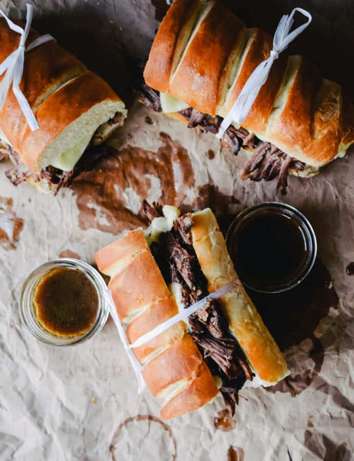 wine braised beef dips with au jus