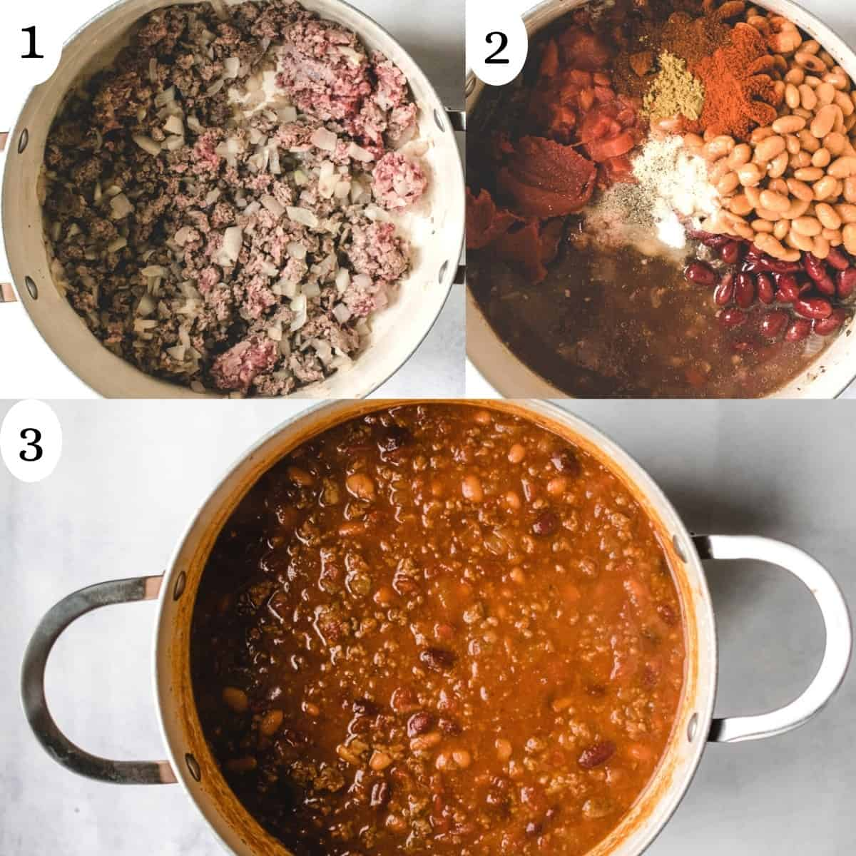 Three image collage showing how to make a chili recipe in a pot.