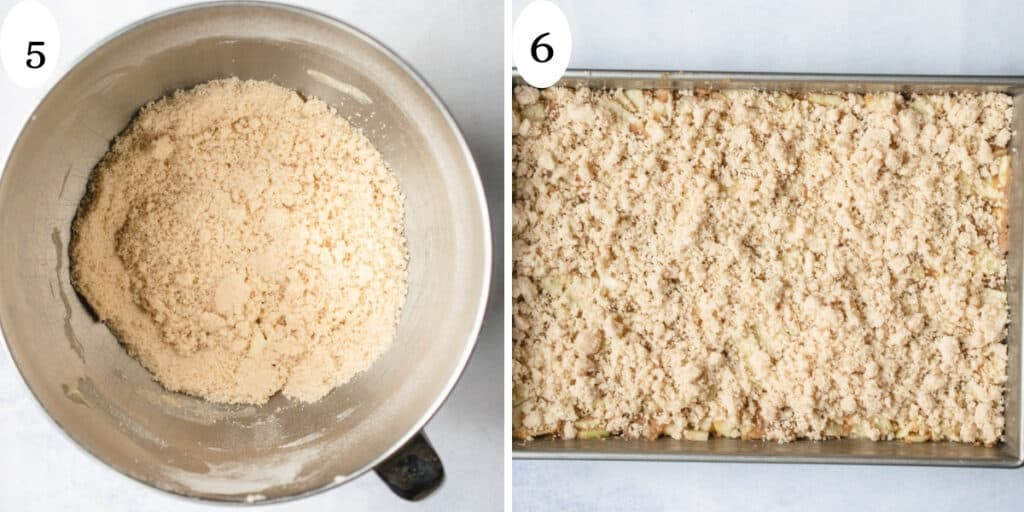 Step 5 and 6 showing streusel crumbs sprinkled over the top of the dish.
