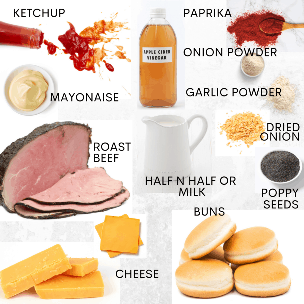 Individual labeled ingredients needed to make a copycat Arby's beef and cheddar sandwich.