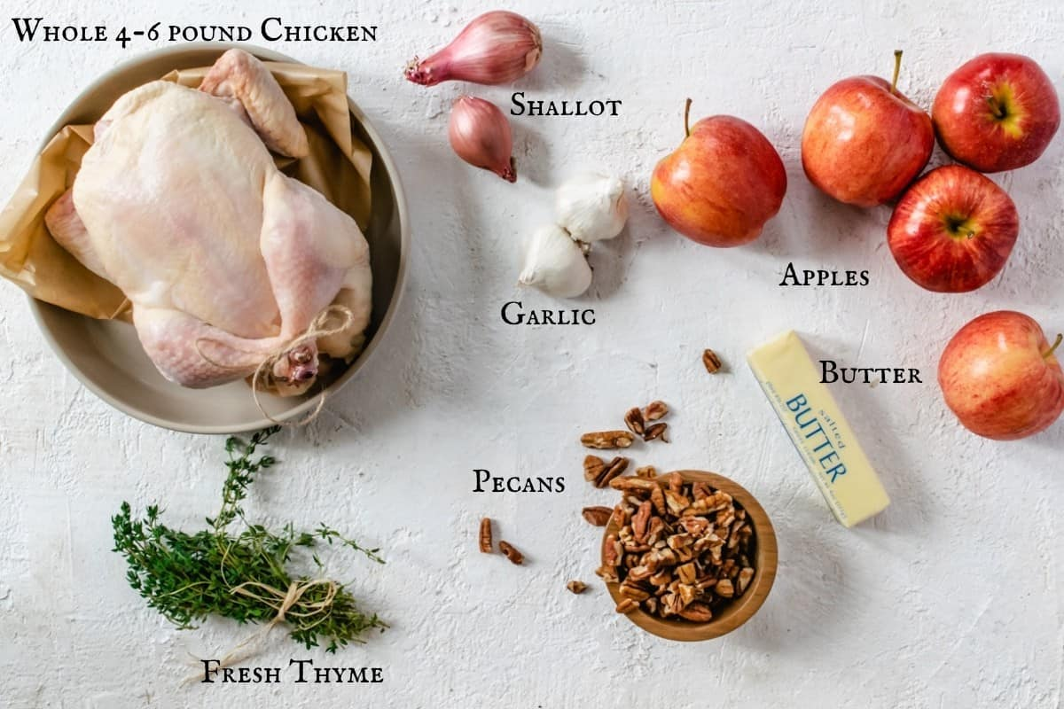 Photo of ingredients needed to make the recipe with labels.