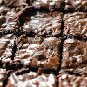 close up of brownies cut into squares