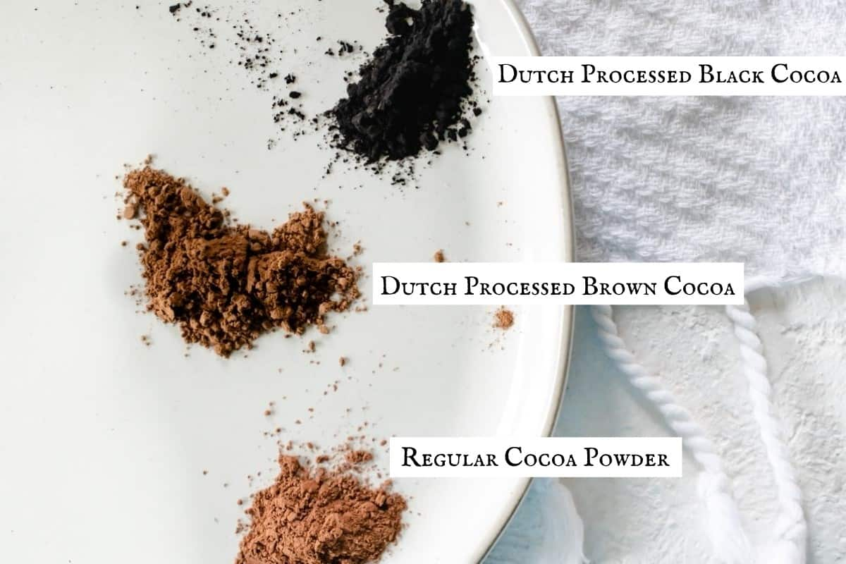 pictorial display of the color differences in three types of processed coco powders