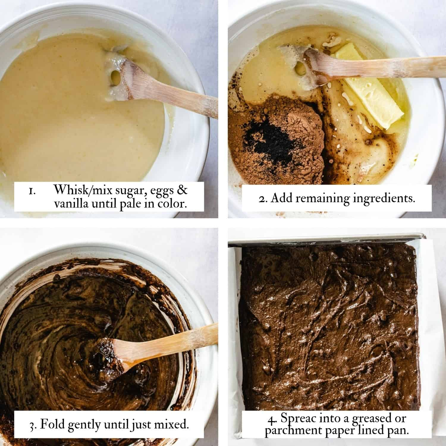 4 image instruction collage showing how to mix brownie batter to achieve the crinkly top