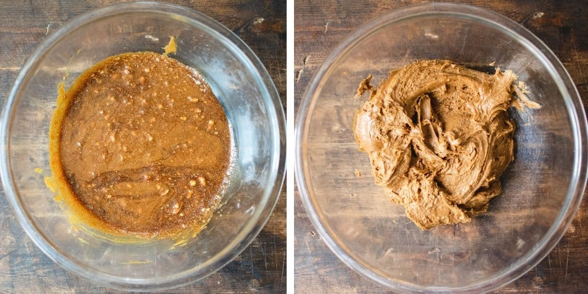 Two side by side photos of the batter in stages.