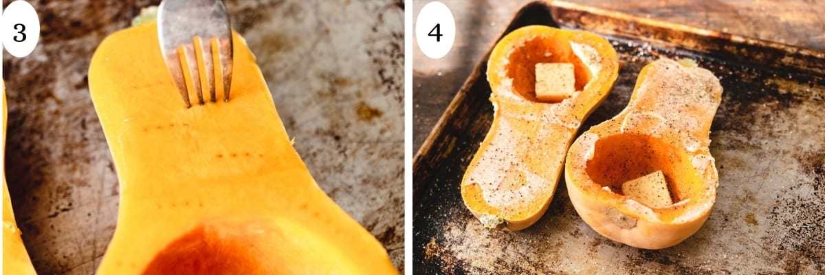 Fork poking holes in a sliced butternut squash and butter salt and pepper spread over the other half.