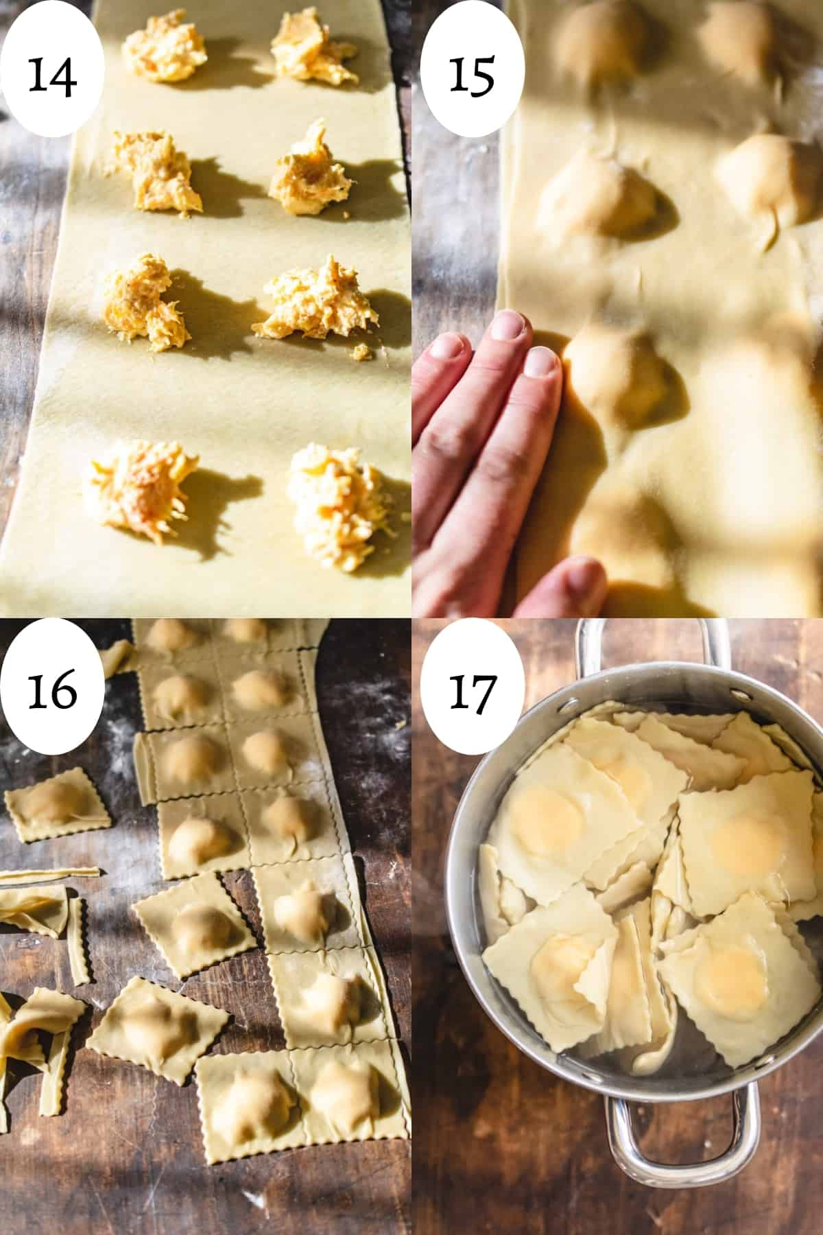 4 step info graphic showing how to form raviolis