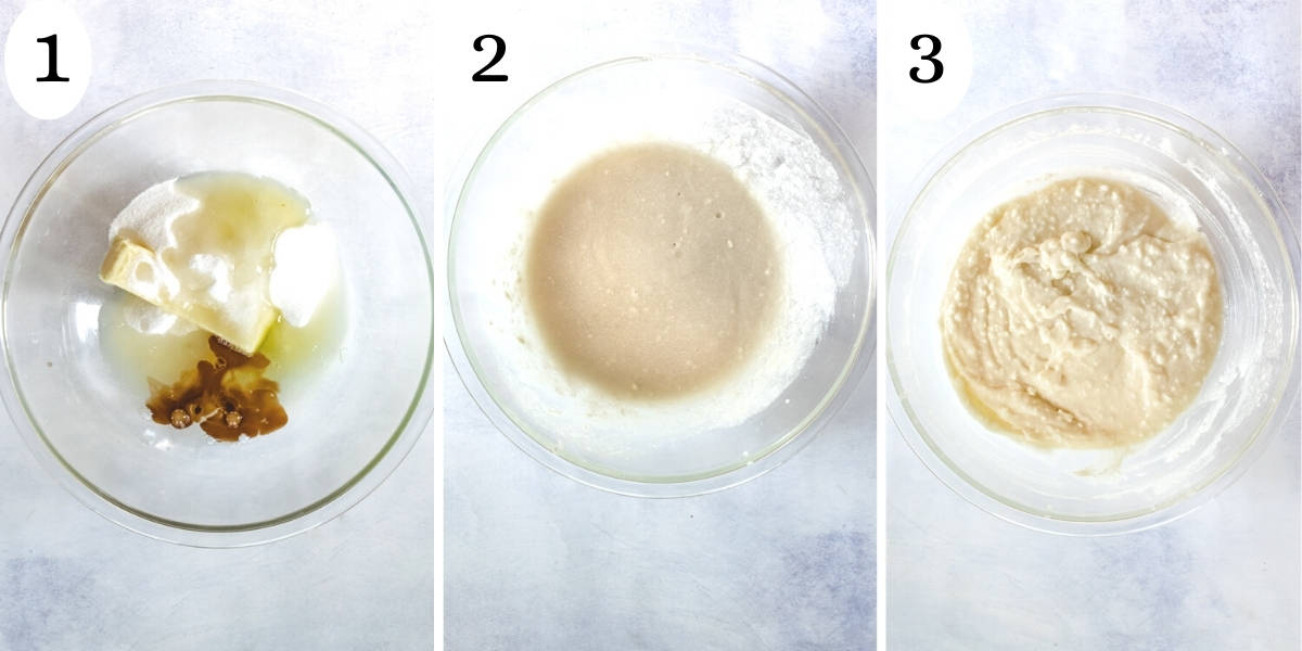 The three steps of adding the wet ingredients to the bowl and mixing them