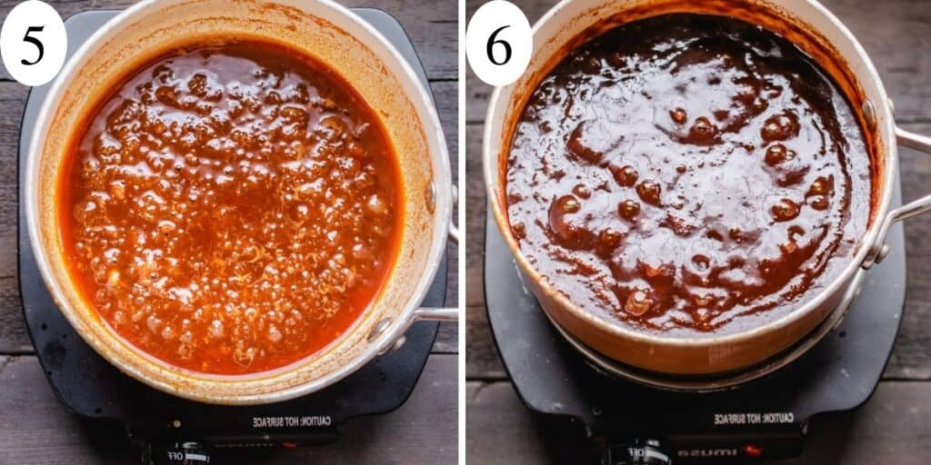 Two side by side photos showing sauce before and after simmering.
