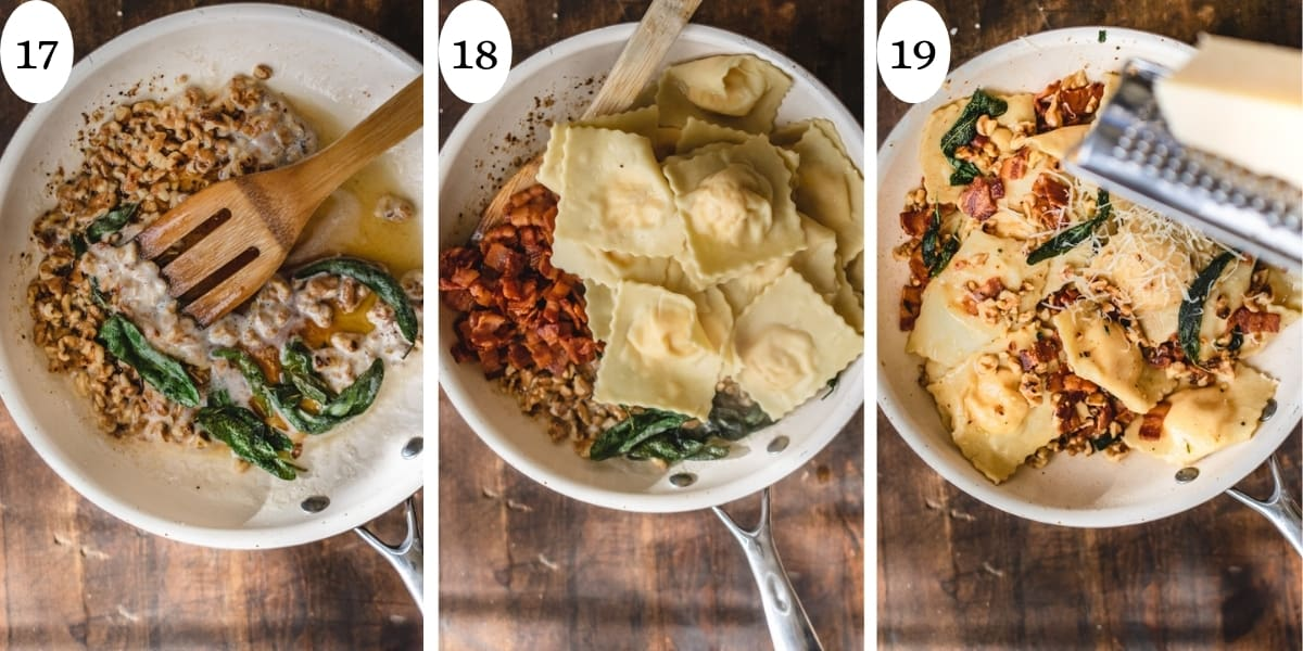 3 step collage showing how to toss ravioli with browned butter, bacon and sage.