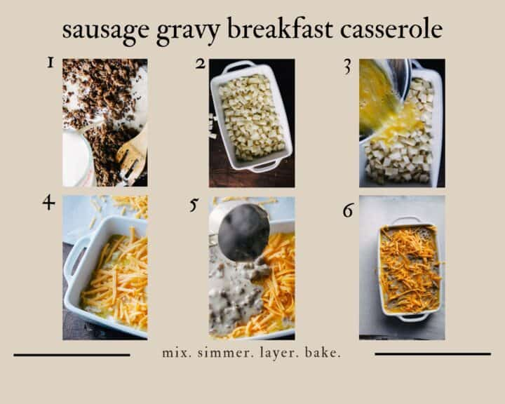 layered brunch casserole step by step instruction chart