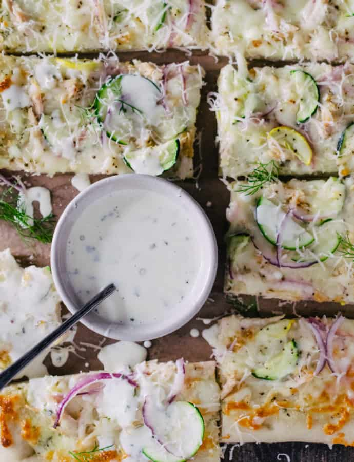 garlic ranch & zucchini pizza