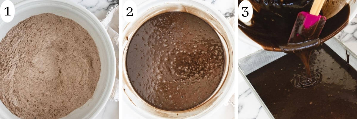 3 step info graphic showing steps to making chocolate cake batter