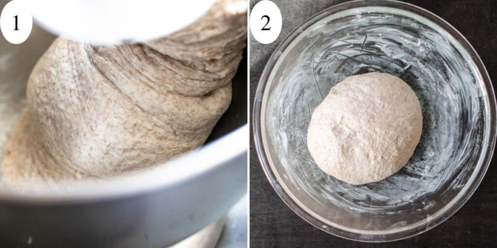 Photos of wheat dough being mixed in stand mixer, and rising in a greased bowl.