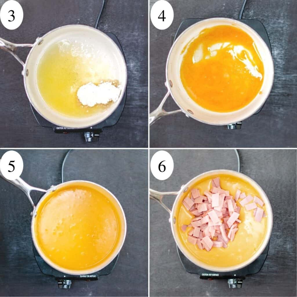 4 numbered images showing ham and cheese filling being made in a sauce pan.