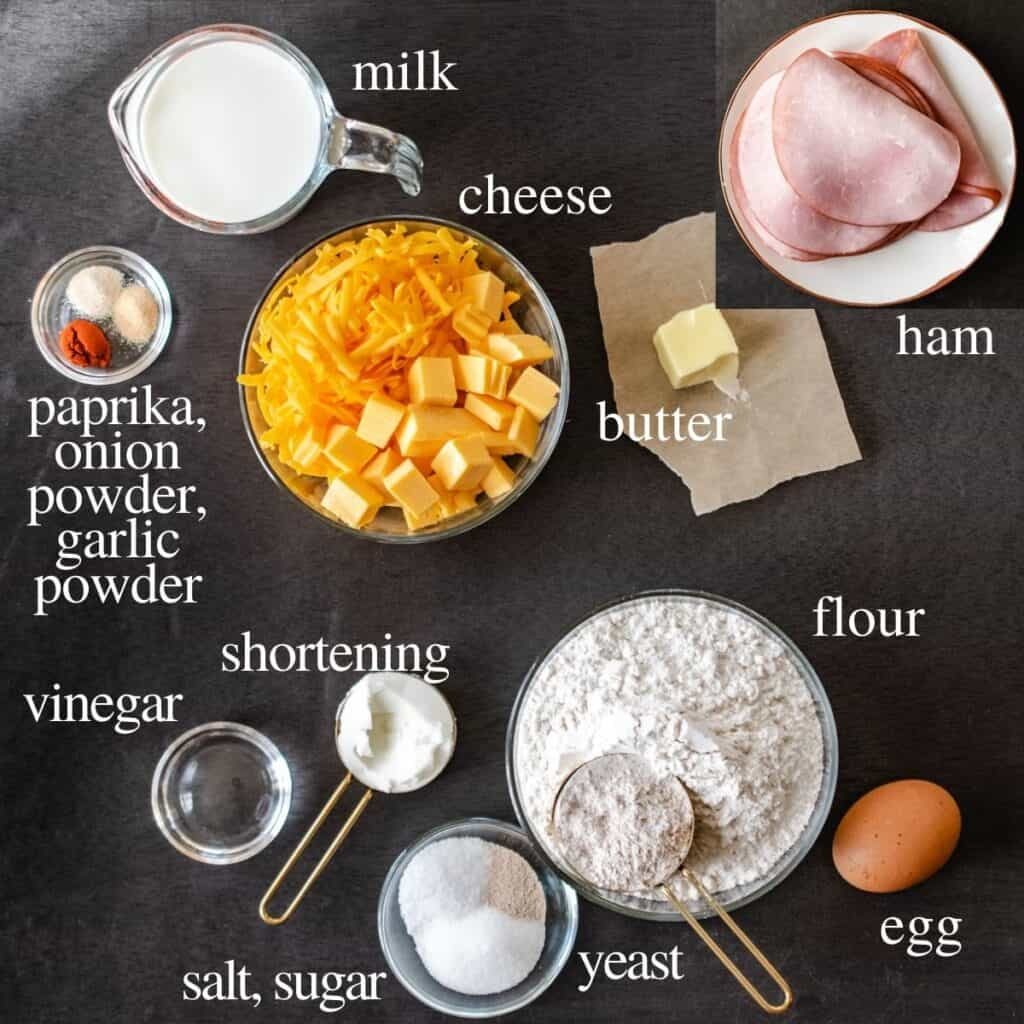 Ingredients for recipe labeled with text on a black background.