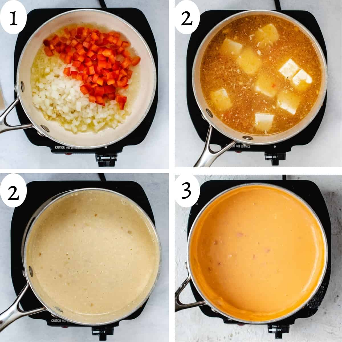 Four step image collage showing the steps to making beer cheese.