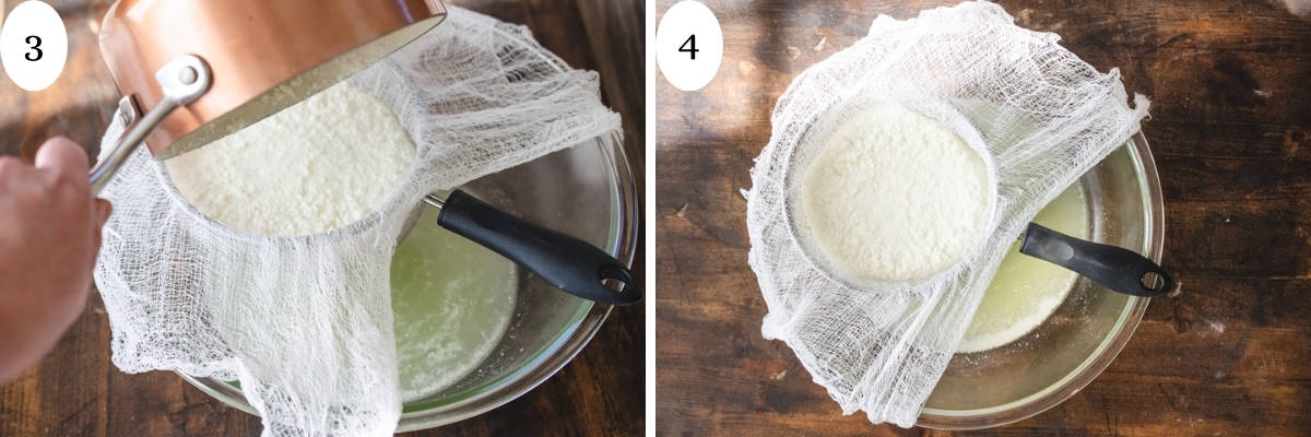 Two images showing pouring curds and whey into cheese cloth and letting it strain out.