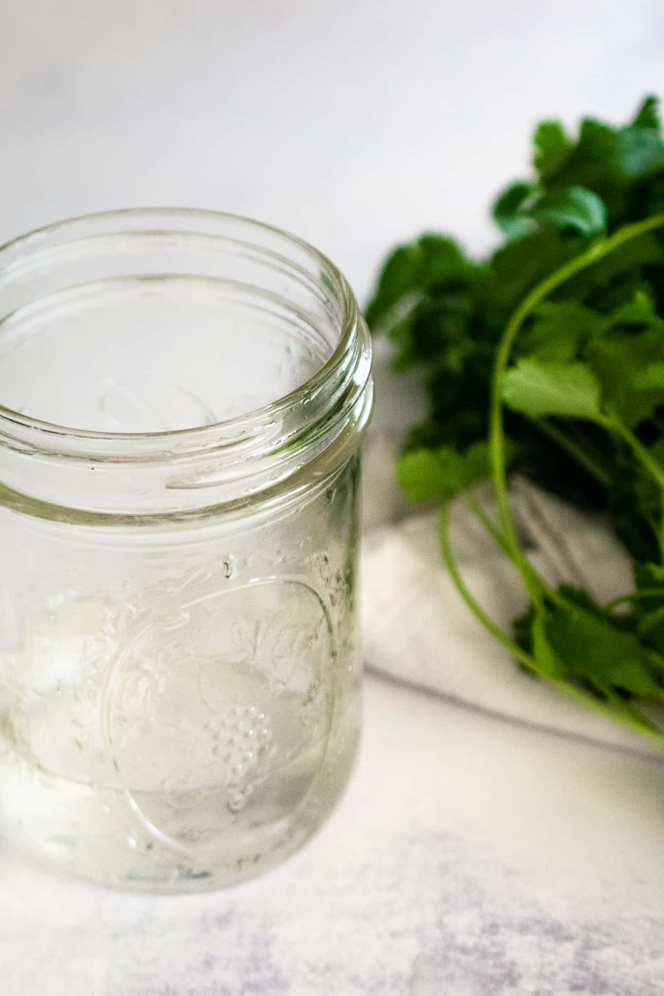 mason jar with a small amount of water next to bundle of fresh cilantro