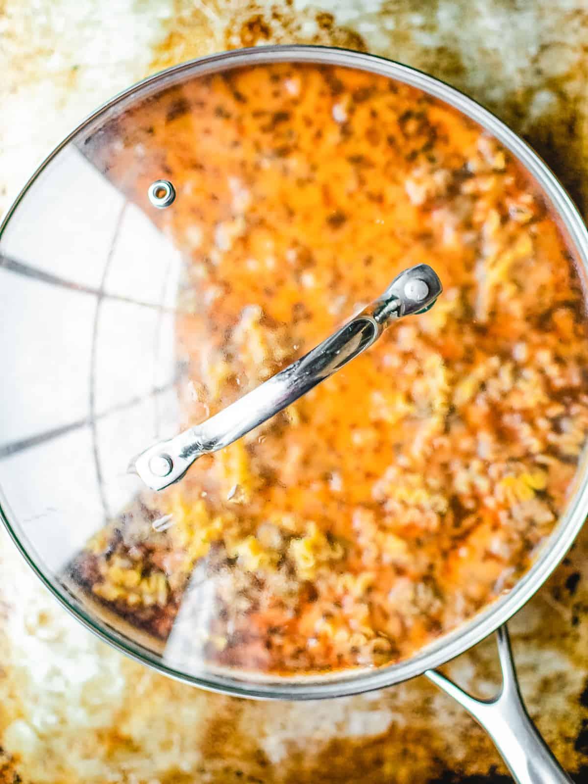 Homemade Hamburger helper copycat lasagna flavor in a skillet.