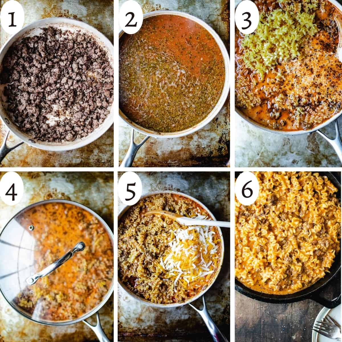 six step graphic showing how to make hamburger helper