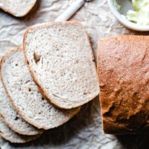 sliced homemade wheat bread