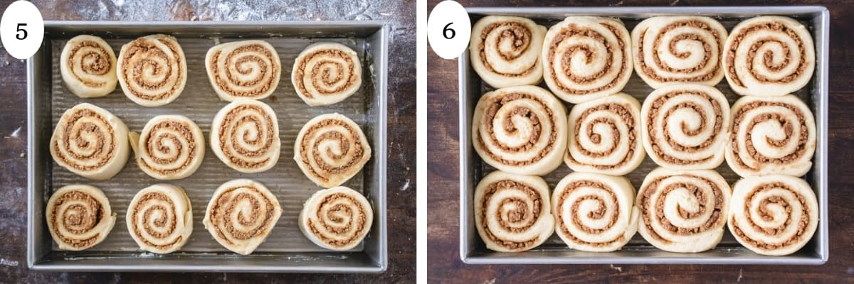 A before and after picture of uncooked cinnamon rolls before and after rise.