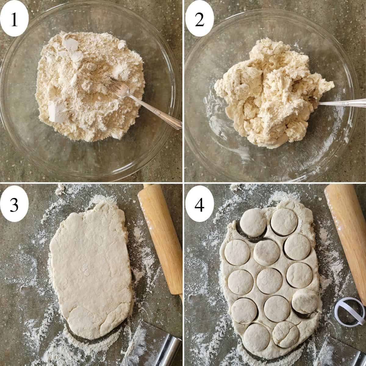 A four image collage showing the first 4 steps to making biscuits.
