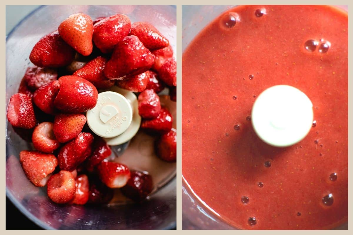a before and after image of pureed strawberries in a food processor