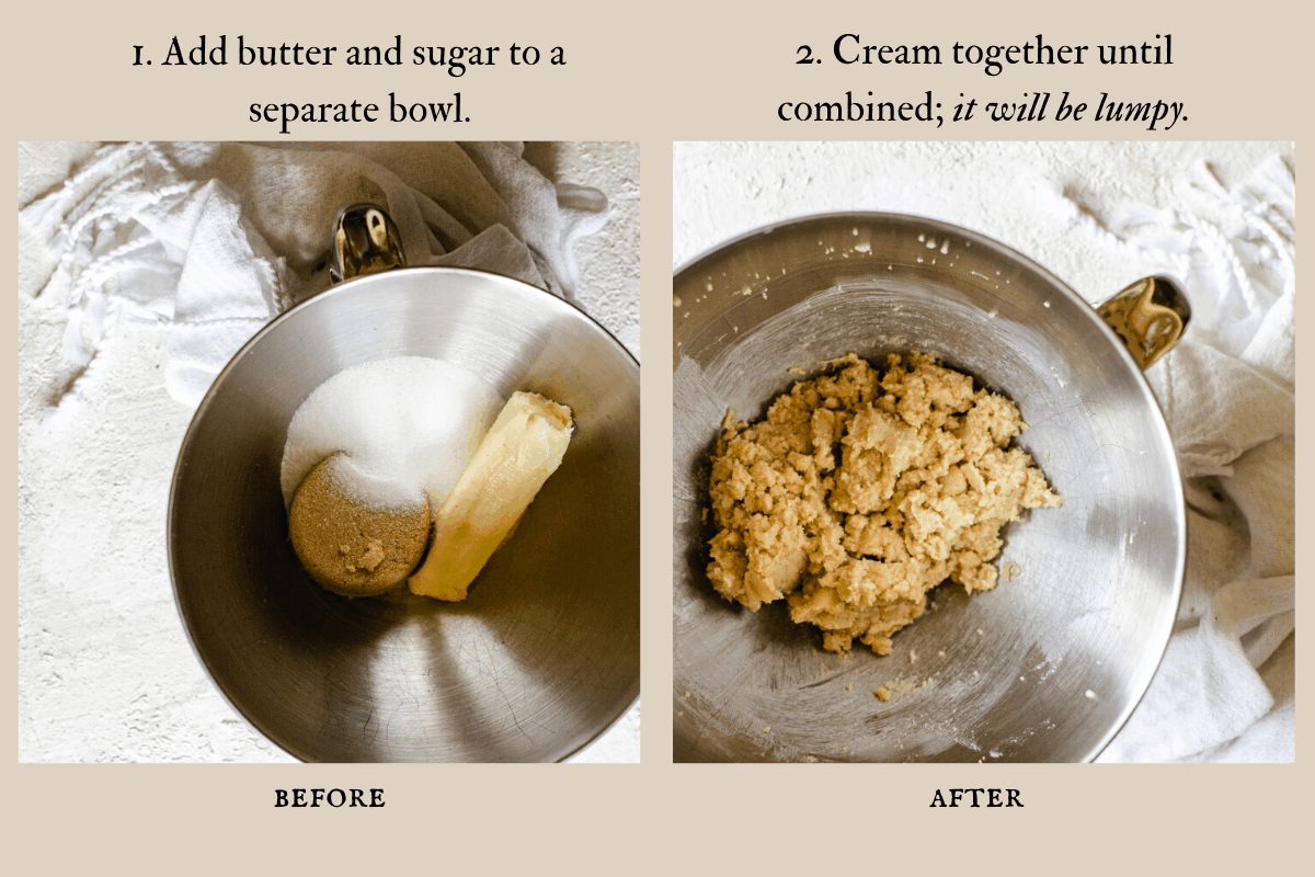 Before and after images of creaming the sugars and butter together