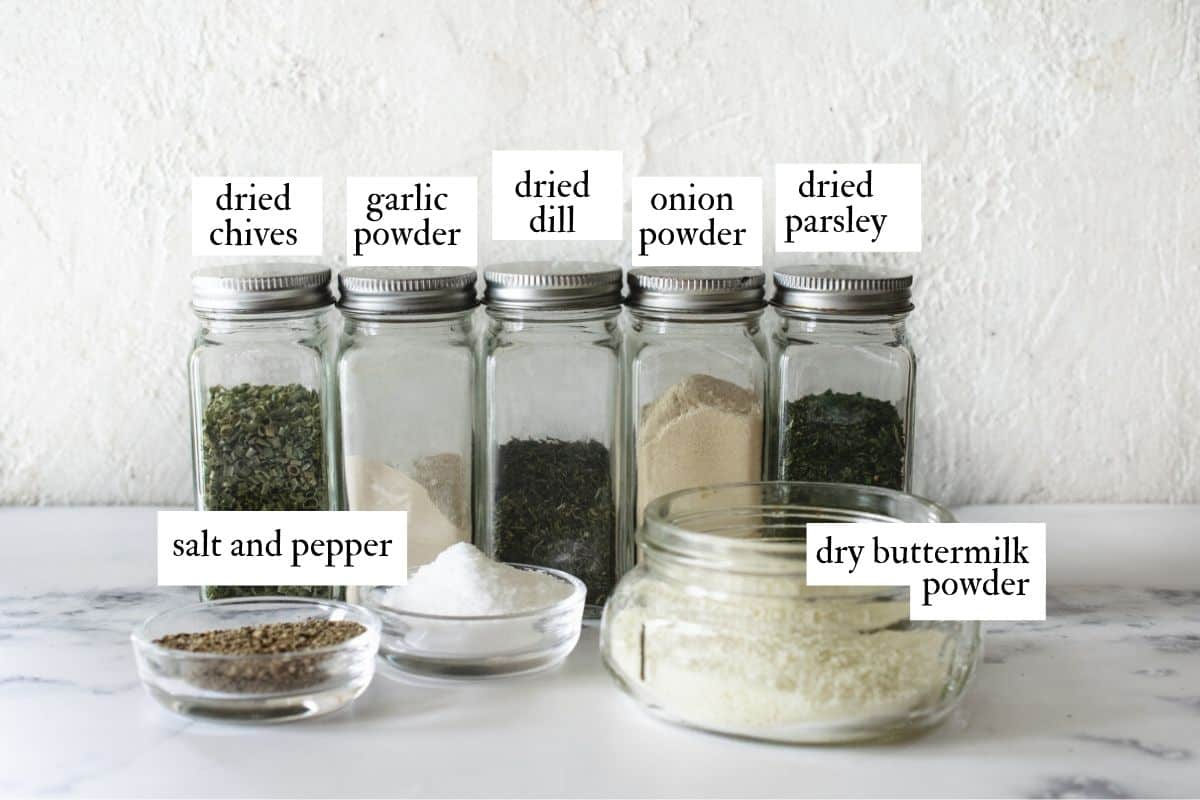 info graphic of spices and seasoning ingredients used in dry ranch mix