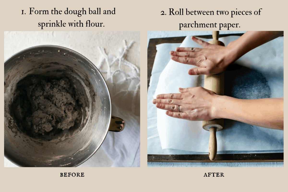 before and after pictures of dough ball and rolling out of dough