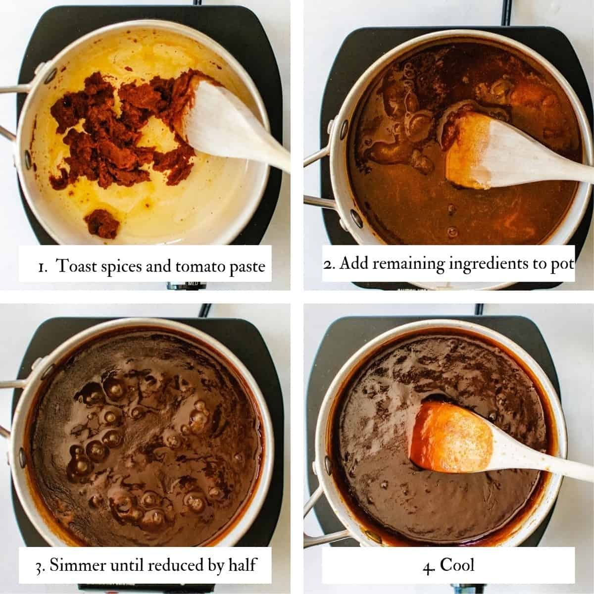 4 image collage showing steps to making apricot barbecue sauce