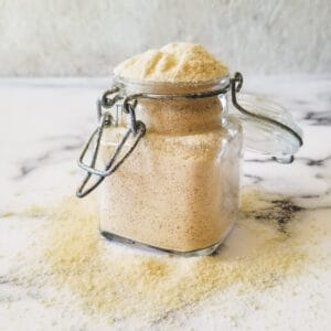 glass jar filled with dry buttermilk powder