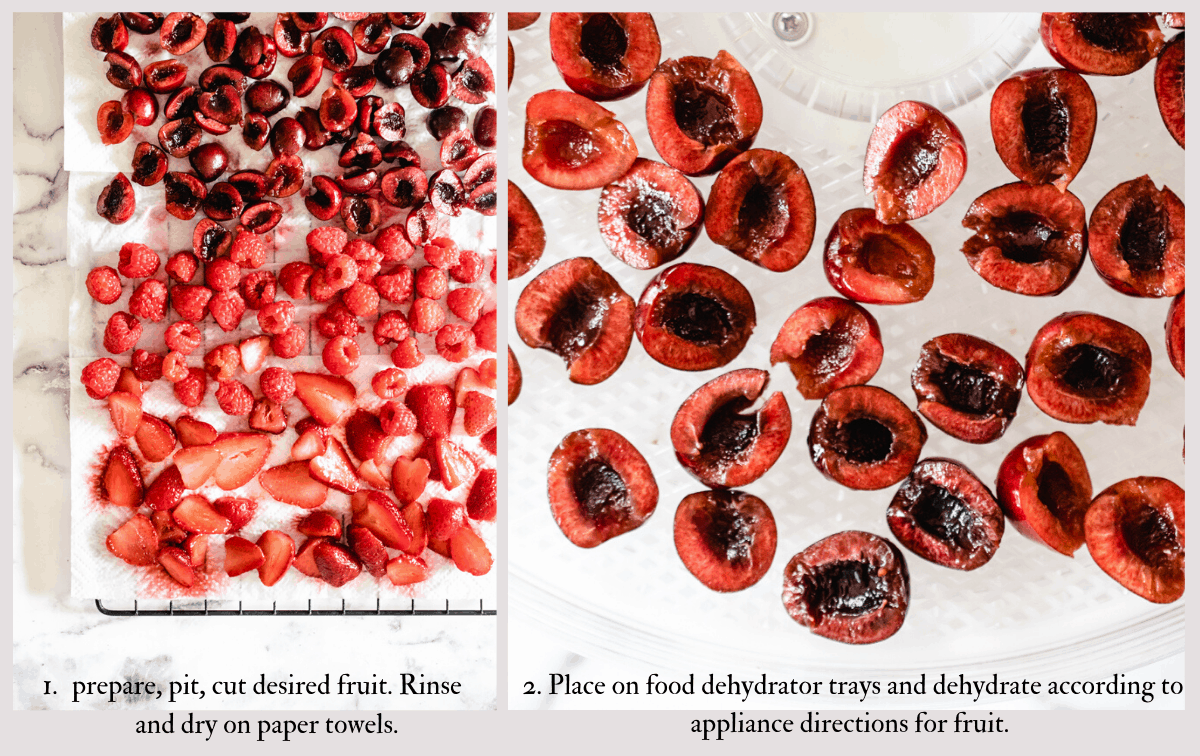 info graphic showing prepared and pitted fruit then being dried on dehydrator racks