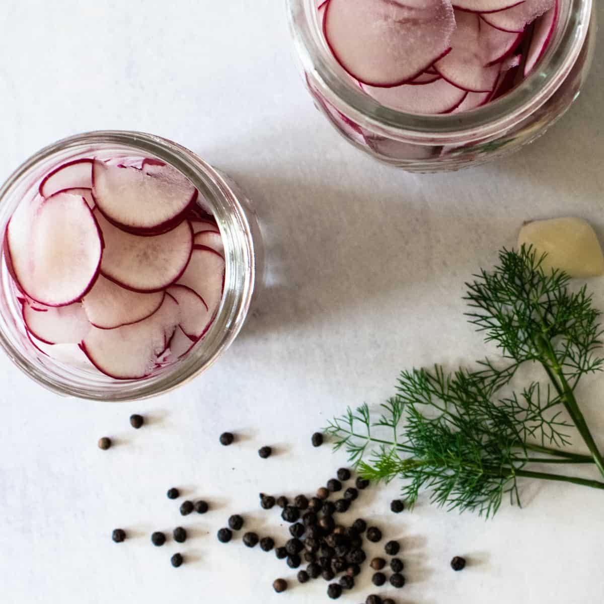 mason jars of thinly sliced radishes for pickling next to optional herbs and spices