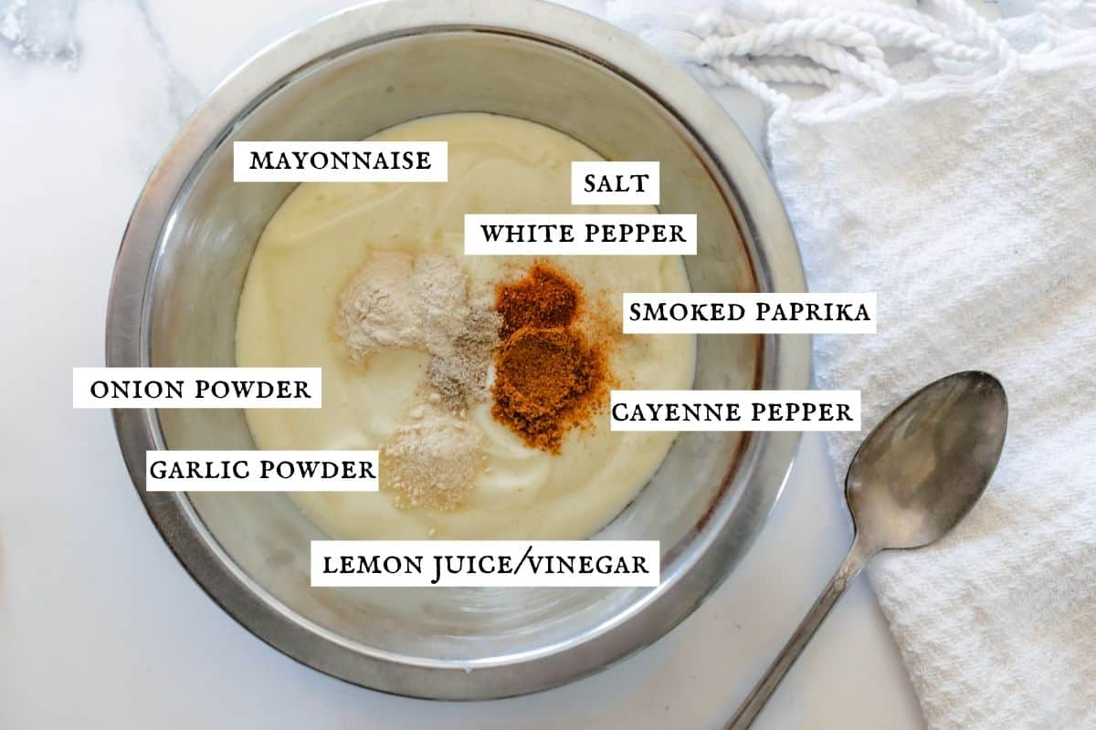spicy mayonnaise ingredients with labeled ingredients