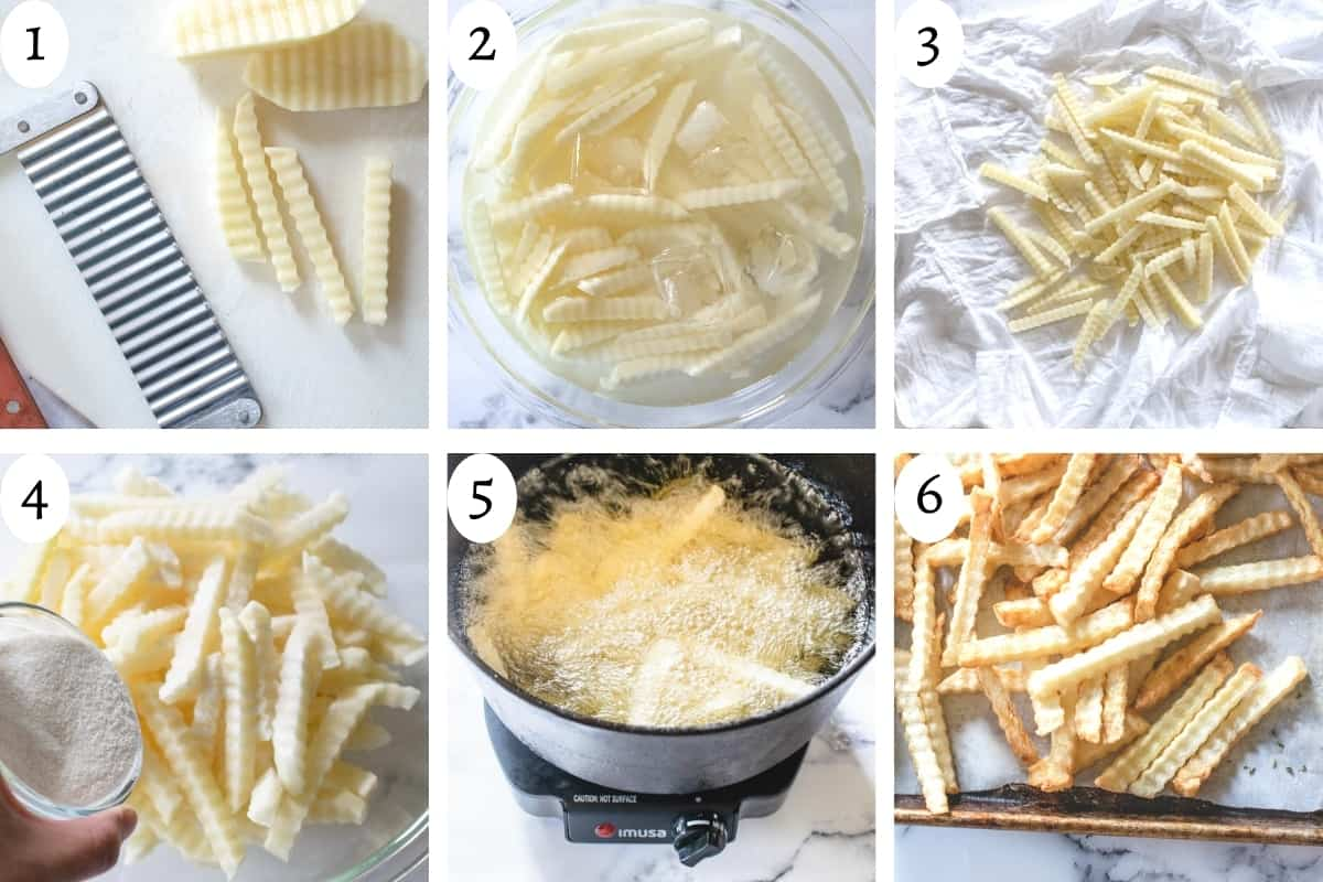 6 step visual to show how to make wavy cut fries