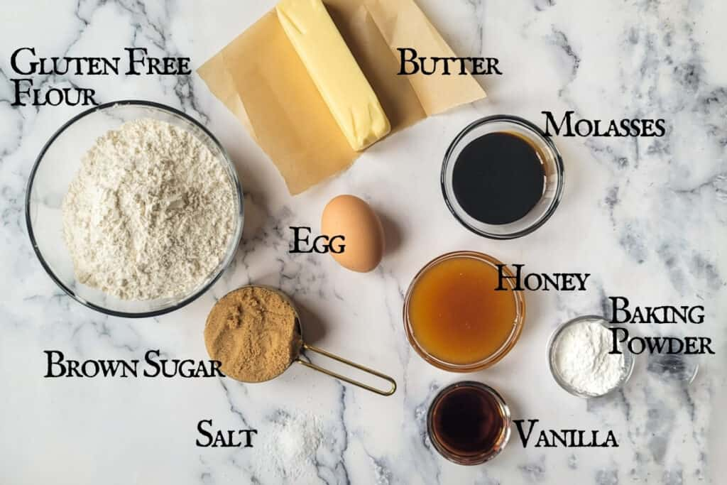 Labeled ingredients needed to make the recipe.