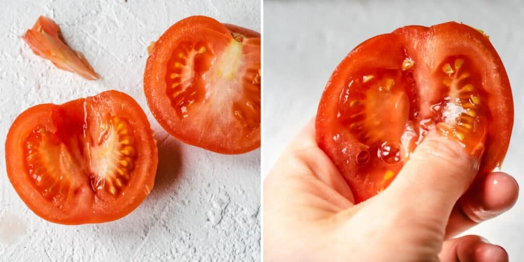 Triangular shape cut out of tomato half; pushing seeds out with thumb.