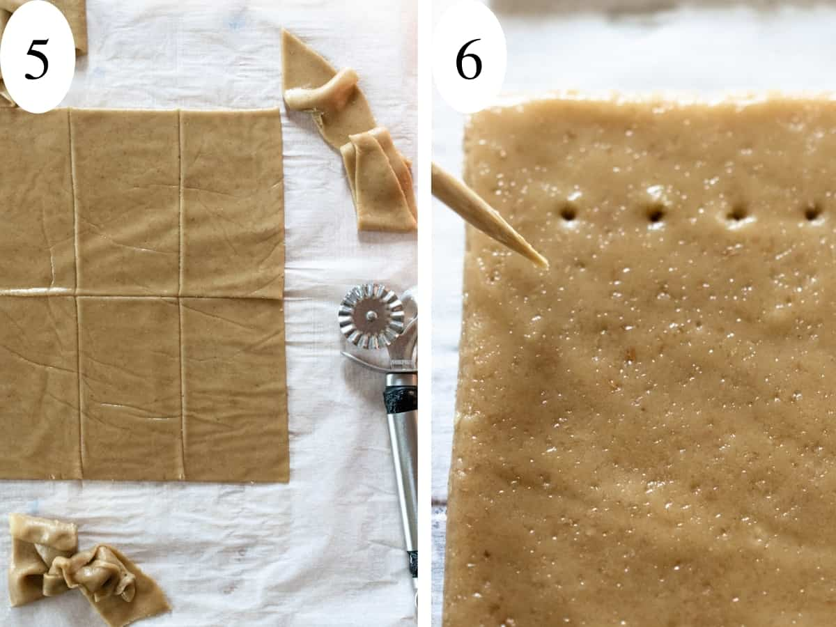 Rectangles cut into light brown dough and holes poked in with a toothpick.